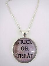 Trick or Treat Text Halloween Silver Plated Necklace New in Gift Bag