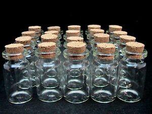 Miniature Glass Bottles / Vials & Cork Stopper Storage Pendant PICK QUANTITY ML