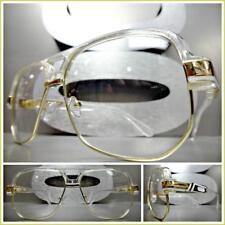 Mens CLASSIC RETRO HIP HOP Style Clear Lens EYE GLASSES Transparent & Gold Frame