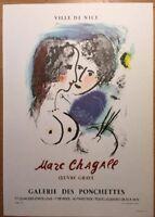Marc Chagall,Mourlot, Ville De Nice, Poster,Offset Lithograph,Vintage 1966.