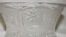 Vintage Clear Glass Candy Dish with Frosted Floral Design Starburst Bottom