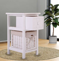 Furniture Storage Wood Bedroom Night Stand Bedside End Table w/ 1 Basket