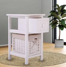 White Nightstand Bedside End Table Furniture Storage Wood Bedroom w/ 1 Basket