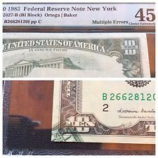 1985 FRN New York 10 Dollar PMG 45 EPQ Multiple Errors & Certified  By PMG.