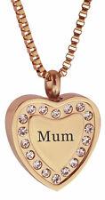 Crystal Mum Rose Gold Heart Urn Pendant-Memory Ash Cremation Jewellery Engraving
