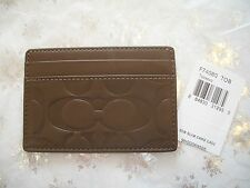 NEW COACH MENS TOBACCO BROWN SIGNATURE EMBOSSED SLIM LEATHER CARD CASE