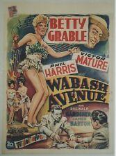 """""""LA RUE DE LA GAIETE (WABASH AVENUE)""""Affiche entoilée Betty GRABLE,Victor MATURE"""