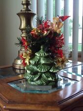 Vintage Haeger Pottery Green Christmas Tree Planter with Vintage Decorations