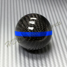 Real Carbon Fiber Ball Manual MT Gear Shift Shifter Knob W/Blue Stripe Universal