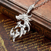 Silver Stainless Steel Dragon Pendant Men Necklace With Leather Chain