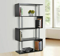 Wooden S Shape Storage Unit Bookshelf-Black, Home Livingroom Furniture, Bookcase