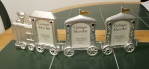 """GODINGER SILVER PLATED Picture FRAME 2 X 3"""" Set of 3 Train Shaped Baby Nursery"""