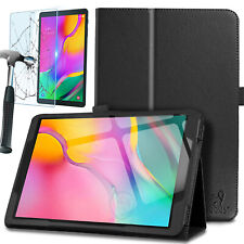 Premium Leather Case & Glass Screen Protector for Samsung Galaxy Tab A 10.1 2019