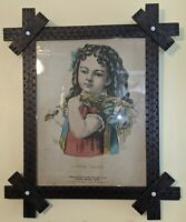 Best 1874 Antique Victorian Folk Art Frame Punch Decorated Cross & Little Daisy