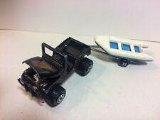 Vintage 1982 Road Champs Coyotes 4X4 Black Jeep Road 1/64 Diecast + River Raft