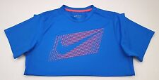 NIKE Blue TEE Shirt BOYS Size XL Swoosh MULTICOLOR Orange 667691 BIG Logo KIDS**