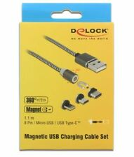 Delock Magnetic USB Charging Cable Set for 8 Pin / Micro USB / USB Type-C