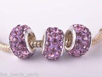 10pcs 12mm Rhinestone Silver Plated DIY Charm Loose Big Hole Beads Lt Purple