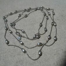 """Silpada Sterling Silver Sparkly Bead Ball Chain Charm Necklace - 36"""" Long - Rare"""