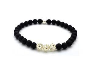 Mens Ladies Bead Bracelet Frosted Black Onyx 925 Sterling Silver Beads Handmade