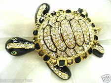 18KGP Sea Turtle Swarovski Element Austrian Crystal Rhinestone Brooch Pin