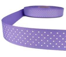 "5 Yds Lavender Purple White Confetti Swiss Tiny Polka Dot Grosgrain Ribbon 1""W"