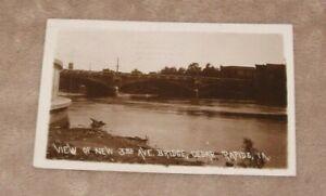 Cedar Rapids Iowa IA RPPC 1917 3rd Third Ave Bridge Real Photo Postcard River