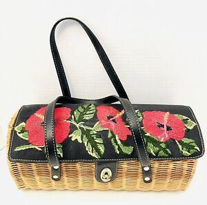 VTG Wicker Woven Hibiscus Floral Embroidered Boho Handmade Shoulder Bag