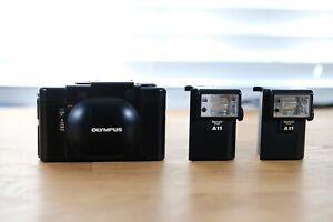 Olympus XA w/ A11 Flashes