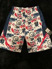 Flow Society Youth Soccer Shorts XL White Red Blue London Arsenal Pockets