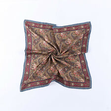 Large Square Silk Twill Scarf  Maroon Theme Paisley Pattern XWC701