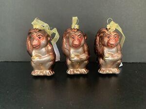 Monkey Christmas Tree Glass Ornaments X3 John Lewis