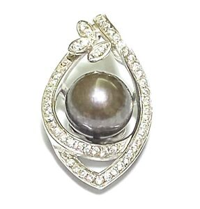 Luxurious Natural Brown Round 9mm Cultured FW Pearl Vintage Handmade Pendant