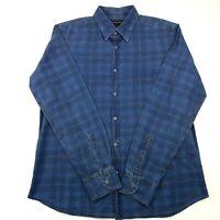 Massimo Dutti Mens Casual Shirt XL EXTRA LARGE Long Sleeve Blue Regular Check