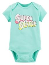 """Carter's Baby Girl """"Super Sister"""" Graphic Bodysuit One Pc 12M Mint Green New"""