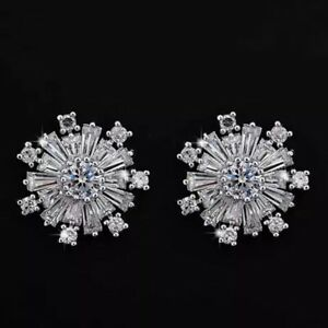 925 Sterling Silver Winter Snowflake Earrings Set With Simulated Diamonds