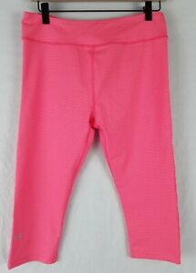 NWT Under Armour HeatGear Fitted Capri Leggings Pink Orange Striped Size- Large