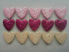 30 GLITTERY PINK MIX HEARTS - EDIBLE SUGAR VALENTINES CAKE DECORATIONS / TOPPERS