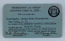 Rare 1958 Membership & Credit Card President of Doris Duke Foundation Hospital