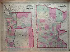 JOHNSON'S OREGON WASHINGTON MINNESOTA incisione 1864 cartina  STATI UNITI  MAP