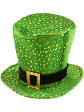 Fancy Dress St Patricks Irish Ireland Eire Top Hat Green with Gold Shamrocks New