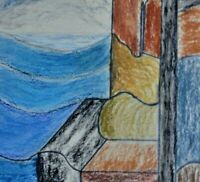 Joh. C. zu Garz-? - abstrakte Wax-Zeichnung 1984: BUNTE BEFESTIGUNGEN AM MEER
