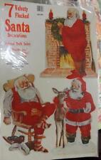 7pc Vintage 1982 Flocked SANTA Die CUTS XMAS Peck REINDEER Toy VELVETY Cookies