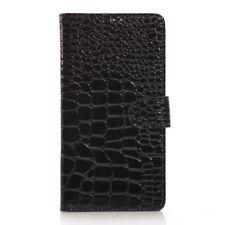 Wallet Case Croco Skin Book Etui Hülle Stand Schwarz für Samsung Galaxy Note 4