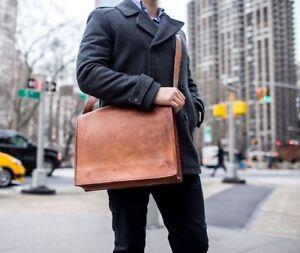 Men's Women Genuine Leather Handbag Briefcase Laptop Shoulder Bag Messenger Bag