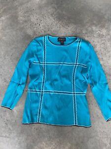 Finity Blue 3/4 Sleeve Beaded 3/4 sleeve Womens Sweater A2 SZ Medium