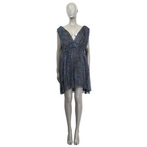60795 auth ISABEL MARANT ETOILE black & blue silk CHIFFON ESTELLE Dress 38 S