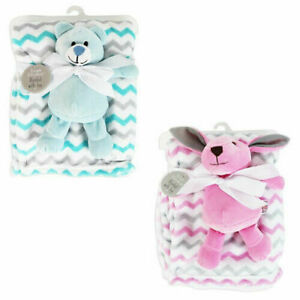SUPER SOFT BABY BLANKET WITH SOFT CUDDLY BEAR or RABBIT TOY.