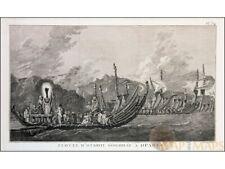 Tahiti Fleet of Otahiti Old print Captain Cook's voyage 1778
