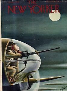 1942 New Yorker Cover Only August 22 - B-25 Nose Gunner is moon-struck -Alajalov